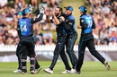 Grant Elliott celebrates one of his three wickets, New Zealand v Pakistan, 1st ODI, Basin Reserve, Wellington, January 25, 2016