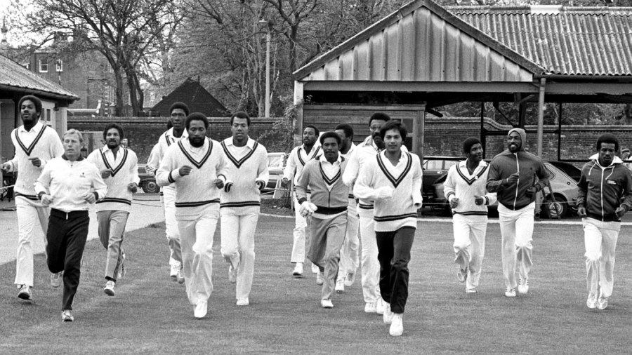 West Indies players jog during training at Lord's