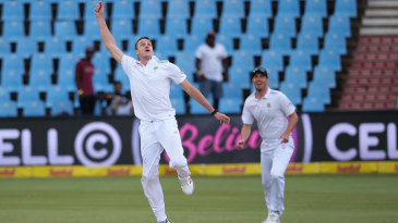Morne Morkel celebrates his one-handed caught-and-bowled
