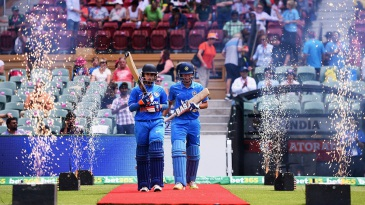 India openers Mithali Raj and Smriti Mandhana walk out to bat