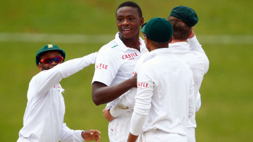 Kagiso Rabada is all smiles after dismissing Jonny Bairstow cheaply
