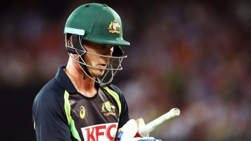Chris Lynn walks back after getting dismissed for 17