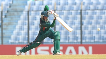 Bangladesh Under-19 captain Mehedi Hasan Miraz drives