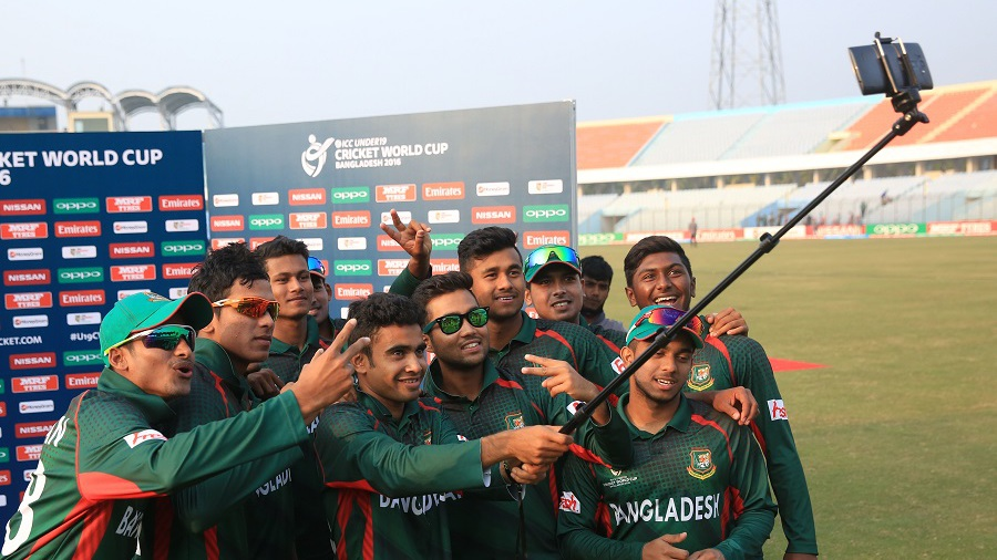The Bangladesh Under-19 players take a selfie after their victory