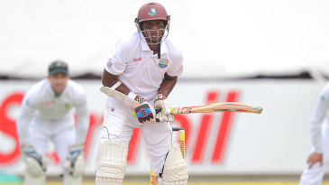 Crab-like: Shivnarine Chanderpaul faces up with his front-on stance