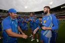 Andrew Tye receives his Australia cap from Ryan Harris, Australia v India, 2nd T20I, Melbourne, January 29, 2016