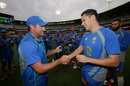 Scott Boland was handed his Australia T20I cap by Ryan Harris, Australia v India, 2nd T20I, Melbourne, January 29, 2016