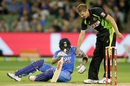 James Faulkner helps Virat Kohli get back on his feet, Australia v India, 2nd T20I, Melbourne, January 29, 2016
