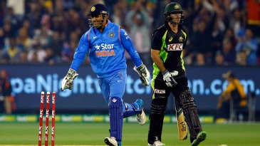 MS Dhoni celebrates after stumping Glenn Maxwell