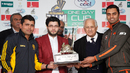 Kamran Akmal and Zohaib Ahmed pose with the National One Day Cup trophy after rain washed out the final in Islamabad, National Bank of Pakistan v Islamabad, National One Day Cup, final, Islamabad, January 29, 2016