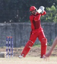 Abraash Khan punches the ball through the off side, Ireland v Canada, ICC Under-19 World Cup, Warm-up match, January 25, 2016