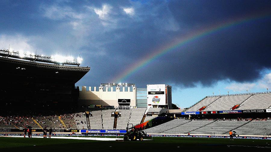 A rainbow appears over Eden Park