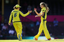 Ellyse Perry celebrates a wicket with Beth Mooney, Australia v India, 3rd women's T20I, Sydney, January 31, 2016