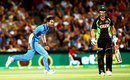 Hardik Pandya celebrates Chris Lynn's dismissal,  Australia v India, 1st T20 international, Adelaide, January 26, 2016