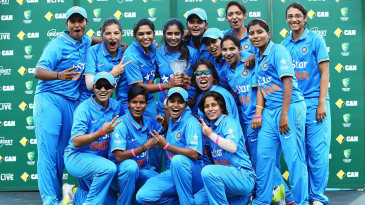 India Women celebrate their first ever bilateral series victory over Australia Women in any format