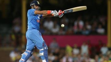 Suresh Raina plays a pull shot