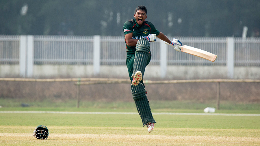 Nazmul Hossain Shanto is ecstatic after scoring his century
