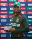 Nazmul Hossain Shanto won the Man-of-the-Match award for his unbeaten 113, Bangladesh v Scotland, Under-19 World Cup, Cox's Bazar, January 31, 2016
