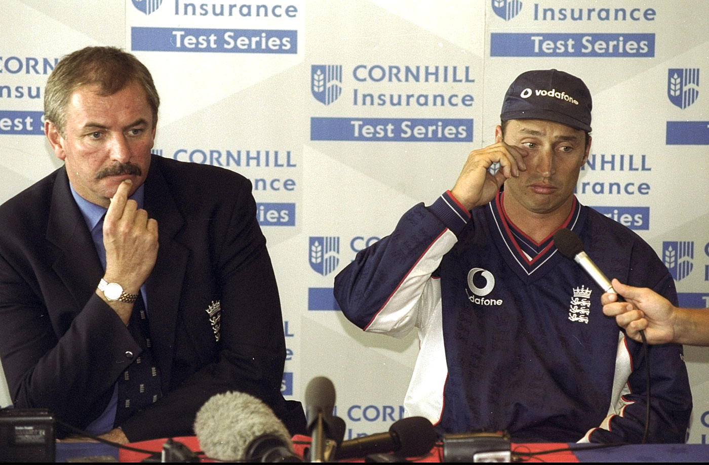 A fraught Nasser Hussain and David Graveney face the press after New Zealand beat England in 1999