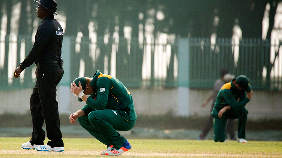 The South African Under-19s team is dejected after their loss to Namibia Under-19s