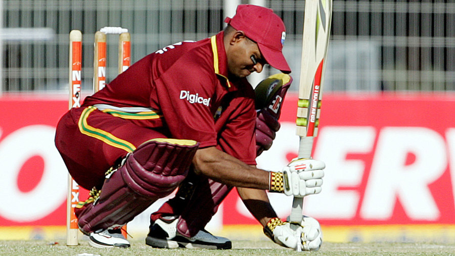 Shivnarine Chanderpaul marks his guard with a bail