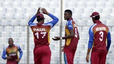 Alzarri Joseph celebrates one of his four wickets