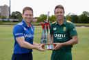 Eoin Morgan and AB de Villiers with the one-day trophy, South Africa v England, 1st ODI, Bloemfontein, February 2, 2016