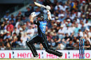Mitchell Santner plays a one-handed drive, New Zealand v Australia, 1st ODI, Auckland, February 3, 2016