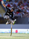 Henry Nicholls jumps while completing a run, New Zealand v Australia, 1st ODI, Auckland, February 3, 2016