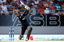 Martin Guptill launches one down the ground, New Zealand v Australia, 1st ODI, Auckland, February 3, 2016