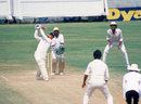 Graeme Fowler goes over the top during his double-hundred, India v England, 4th Test, Madras, January 15, 1984