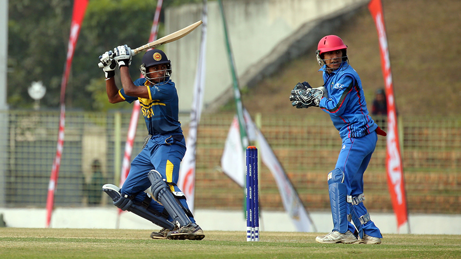 Kamindu Mendis scored 13 off 35 balls during his stay at the crease