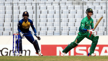 Hasan Mohsin looks for a run during his knock of 86