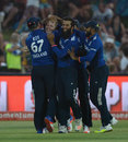Ben Stokes is mobbed by his team-mates after a stunning catch to dismiss AB de Villiers, South Africa v England, 1st ODI, Bloemfontein, February 3, 2016