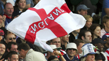 A fan flies the St George's flag in the stands