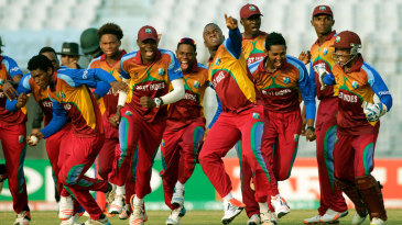 West Indies celebrate their controversial win over Zimbabwe