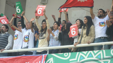Nepal fans cheer on their team at the Under-19 World Cup