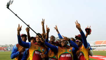 West Indies take a group photo after the win over Zimbabwe