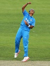 Shikha Pandey celebrates a wicket, Australia v India, 2nd Women's ODI, Hobart, February 5, 2016