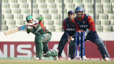 Mehedi Hasan works one on the leg side during his unbeaten 55