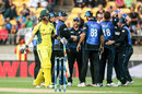 The New Zealand players get together after the wicket of Glenn Maxwell, New Zealand v Australia, 2nd ODI, Wellington, February 6, 2016