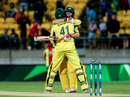 Mitchell Marsh and John Hastings embrace after Australia's win, New Zealand v Australia, 2nd ODI, Wellington, February 6, 2016