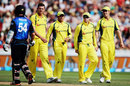 Luke Ronchi comes across the Australians as he walks off, New Zealand v Australia, 3rd ODI, Hamilton, February 8, 2016