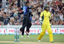 Ish Sodhi is jubilant after dismissing Glenn Maxwell for a duck, New Zealand v Australia, 3rd ODI, Hamilton, February 8, 2016