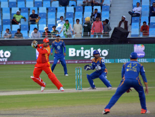 Sharjeel Khan guides the ball through the off side