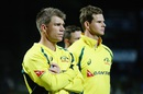 Steven Smith and David Warner look dejected after losing the series, New Zealand v Australia, 3rd ODI, Hamilton, February 8, 2016