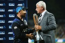 Brendon McCullum receives the Chappell-Hadlee trophy from Sir Richard Hadlee, New Zealand v Australia, 3rd ODI, Hamilton, February 8, 2016