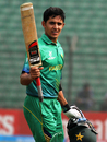 Umair Masood raises his bat after scoring his century, Pakistan v West Indies, Under-19 World Cup 2016, quarter-final, Fatullah, February 8, 2016