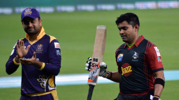 Ahmed Shehzad applauds Umar Akmal following his 40-ball 93