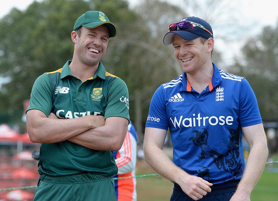 AB de Villiers and Eoin Morgan line up at the toss | Photo | South Africa v  England | ESPNcricinfo.com